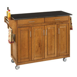 Home Styles - Home Styles Create-a-Cart 49 Inch Black Granite Top Kitchen Cart in Cottage Oak ...