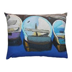 Roweboat art inc. - Three Row Boats, Linen Pillow With Down Blend Insert, Blues, 16x12 - Original art on linen fabric