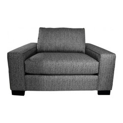 Apt2B - Melrose Wide Arm Chair, Smoke, 45x39x27 - Squatting low and deep, with wide arms and thick cushions, this armchair invites you to kick back — way back. The sturdy, square design and textured neutral upholstery will make sure you look as dignified as possible while you do.