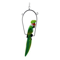 Hand Painted Wood Green Cockatoo Bird Hanging Statue 23 Inch - This beautiful carved wood statue of a green cockatoo on a perch is a wonderful accent to any room with a tropical, jungle or nautical theme. Measuring 23 inches tall, 10 inches wide and 3 1/2 inches deep, including the perch, the statue is hand painted, has wonderful detailing, and looks quite real. The bird itself measures 20 inches tall. It looks great on porches and patios as well as in bars and restaurants.