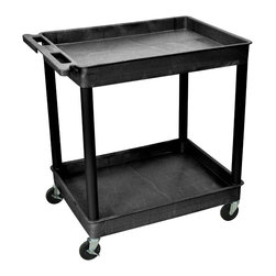 """Luxor - Luxor Tub Cart - TC11-B - These Luxor TC series utility carts are made of high density polyethylene structural foam molded plastic shelves and legs that won't stain, scratch, dent or rust. Features a retaining lip around the back and sides of flat shelves. Includes four heavy duty 4"""" casters, two with brake. Has a push handle molded into the top shelf."""