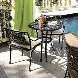 "Ballard Designs - Amalfi 3-Piece Cafe Set - Coordinates with our Amalfi Outdoor Collection. Includes Café Table & 2 Dining Armchairs. Includes cap for 2"" diameter umbrella opening. Basic tan cushions included. Sand black finish resists rust and chipping. Each piece in this inviting collection is crafted of cast aluminum, so the decoration can be more ornate and finely detailed. Cafe Table top and Seats feature an intricate basket weave design with a rich 3-dimensional look. Seats are beautifully scrolled on both sides, so you can enjoy the pattern from behind.Amalfi 3-Piece Cafe Table features: . Includes Cafe Table & 2 Dining Armchairs. . . . Extremely strong, yet light enough for easy placement. Assembly required. Replacement cushions available. Requires 1 replacement cushion per chair. Use of an outdoor furniture cover is recommended to extend the life of your piece."