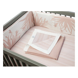 Oilo - Freesia Bumper, Blush - The beautiful freesia blossoms stretched across this baby bumper will surround your little one in a garden of love. The soft color tones are perfectly calming for a baby's first bed. And the zippered cover has mom and dad in mind since it's machine washable for easy cleanup.