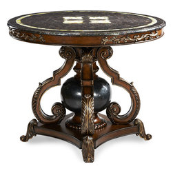 Aico Michael Amini - Aico Amini Lobby Table w/ Blacklip Trim & Blackstone Ball - A center table with rainbow shell top and black stone sphere on decorative scroll base.