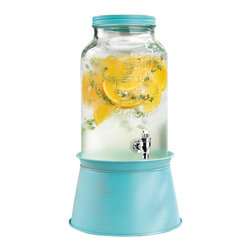 Home Essentials - Vintage Mason Jar Drink Dispenser with Blue Metal Base - Inspired by vintage style mason jars, our country chic glass drink dispenser is the perfect way to serve ice-cold lemonade, mineral water, fresh juice, or any beverage of your choice. With this nostalgic piece, you can easily turn backyard barbecues, picnics, and dinner parties into long-lasting memories. Its attractive blue galvanized metal stand conveniently converts to an ice and wine bucket, and elevates the mason jar for easy serving and entertaining. Whether you're hosting a backyard barbeque, summertime soiree, or winter wedding reception, our vintage glass drink dispenser will surely be the life of the party!   * Capacity: 1.5 gallons  * Stand converts to an ice and wine bucket