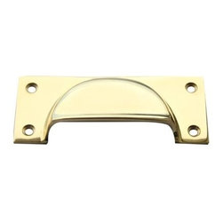 Knobco - Metal Pulls - Brass Cup Pull that is 1.5  x 3.5  and includes screws for installation.