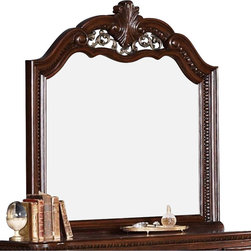Coaster - Coaster DuBarry Mirror in Rich Brown Finish - Coaster - Mirrors - 201824 - Infuse high style and eye-catching design into your master suite with this mirror from the DuBarry collection. Meant to pair with the coordinating dresser, this mirror features a striking wood frame crafted from mahogany solids and veneers. The shapely top of the mirror is crowned with intricately carved details and a center medallion, providing a visually pleasing look to beautifully accompany any classic bedroom. Mirrors are wonderful for adding light and creating the illusion of a larger space. Spark some splendor in your own master suite by including this dresser mirror in its decor.
