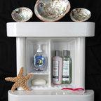 "Bathroom Niche & Shelf Store - Recessed 3 compartment niche with a shelf above and below and 2 "" ceramic columns."
