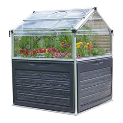"Poly-Tex, Inc. - Plant Inn Raised Garden Bed Greenhouse - Plant Inn Raised Garden greenhouse is the perfect place for growing in small spaces. The Plant Inn is 46"" x 46"" and the raised beds are 28"" off the ground and make gardening accessible to everyone. The peak is 58 1/2"" high and has two lids for easy access and temperature control. The lids can lock open for either full access to do your planting and harvesting or partially for ventilation. The unbreakable polycarbonate panels also help protect your plants from pests and cold. Includes two 6 1/2"" deep planting areas, internal water drainage and plant hangers for trellising. The Plant Inn has a built in storage space under the trays for all of your gardening tools and accessories."
