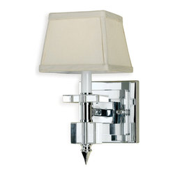 Kathy Kuo Home - Cluny Modern Hollywood Regency Chrome Crystal 1 Light Sconce - Sleek and chic, this art deco-inspired beauty is one stunning sconce. Accented with marvelous modern lines, gleaming chrome and crystal and a crisp silky shade, your walls have never had it so good.