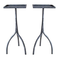 R.T. Facts - Pair of Hand-Forged Iron Drink Tables - These durable drink tables are essential for your living room, bar area — just about any space when you're entertaining. You'll love them for cocktail hour; they're perfectly sized for setting down wine and martini glasses or noshes as the party gets rolling.