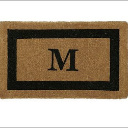 """Monogrammed Doormat, 22 x 36"""",Espresso - Our hand-screened doormat makes a welcoming statement for holiday guests. Add a monogram for a more personal look. Border and monogram: choose from black or espresso. Thickly woven of naturally durable coir, a fiber derived from the outer husk of coconut shells. May be monogrammed at no additional charge. Monogram will be centered on the doormat. Catalog / Internet Only. Imported."""