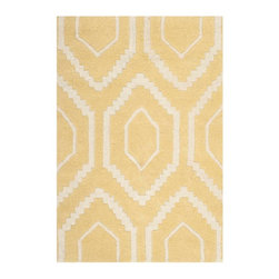 Safavieh - Ernesto Hand Tufted Rug, Light Gold / Ivory 2' X 3' - Construction Method: Hand Tufted. Country of Origin: India. Care Instructions: Vacuum Regularly To Prevent Dust And Crumbs From Settling Into The Roots Of The Fibers. Avoid Direct And Continuous Exposure To Sunlight. Use Rug Protectors Under The Legs Of Heavy Furniture To Avoid Flattening Piles. Do Not Pull Loose Ends; Clip Them With Scissors To Remove. Turn Carpet Occasionally To Equalize Wear. Remove Spills Immediately. A timeless quatrefoil motif makes a global design statement in the subtle but sophisticated Desai area rug. These stunning hand-tufted wool rugs are crafted in India to recreate the elegant look of hand-knotted carpets for today's lifestyle interiors.