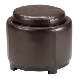 Safavieh - Safavieh Chelsea Brown Storage Bicast Leather Round Tray Ottoman - This rich,chocolate-brown leather ottoman by Chelsea is perfect for use as a footstool or as stand-by extra seating. It also features a removable tray for serving. The stitch details on the top and sides add both texture and flair.