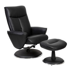 """Mac Motion - Mac Motion Black Bonded Leather Swivel Recliner with Ottoman - Mac Motion Black Bonded Leather Swivel Recliner with Ottoman Sleek is the word that best decribes this unique recliner and ottoman. Covered in a quality bonded leather, this recliner offers 360 degree swivel and adjustable recline. Its accented with a chrome trim. The ottoman is angled for proper leg support. Featured in a rich """"Black"""" bonded leather.  Recliner (1), Ottoman (1)"""