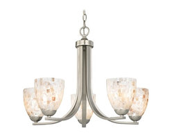 Design Classics Lighting - Chandelier with Mosaic Glass in Satin Nickel Finish - 584-09 GL1026MB - Mosaic glass satin nickel 5-light chandelier with modern bell glass shades. Takes (5) 100-watt incandescent A19 bulb(s). Bulb(s) sold separately. UL listed. Dry location rated.