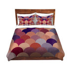 DiaNoche Designs - Duvet Cover Twill by Organic Saturation - Tan Scales Pattern - Lightweight and soft brushed twill Duvet Cover sizes Twin, Queen, King.  SHAMS NOT INCLUDED.  This duvet is designed to wash upon arrival for maximum softness.   Each duvet starts by looming the fabric and cutting to the size ordered.  The Image is printed and your Duvet Cover is meticulously sewn together with ties in each corner and a concealed zip closure.  All in the USA!!  Poly top with a Cotton Poly underside.  Dye Sublimation printing permanently adheres the ink to the material for long life and durability. Printed top, cream colored bottom, Machine Washable, Product may vary slightly from image.