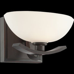 Minka-Lavery - Galante Wall Sconce by Minka-Lavery - The Minka-Lavery Galante Wall Sconce combines strength, grace and contrasting tones to create a fixture of distinction in transitional interiors. It features a unique oval bowl-shaped shade of creamy Etched White glass. The curve of the metal base accentuates the shade's form and offsets its pale tone with a rich Lathan Bronze finish.Minka-Lavery, recognized as a leader in modern elegance, offers decorative lighting with high quality craftsmanship in a variety of materials, including solid brass, wrought iron and cast aluminum. Located in Corona, CA, the Minka Group is branched into three providers that offer creative designs as well as timeless classics: Minka-Lavery lighting, Minka Aire fans and George Kovacs lighting.The Minka-Lavery Galante Wall Sconce is available with the following:Details:Oval bowl-shaped Etched White glass shadeMetal baseLathan Bronze finishSquare wall plateUL ListedLighting:One 40 Watt 120 Volt Type G9 Xenon lamp (included).Shipping:This item usually ships within 72 hours.