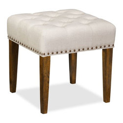 Lorraine Tufted Upholstered Desk Stool with Nailheads, Linen Oatmeal - A small stool can serve many purposes in a tight space. Prop up your feet, add a tray and use as a coffee table, or simply use for extra seating.