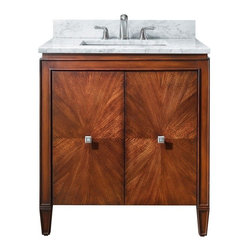AVANITY BRENTWOOD 31 in. Bathroom Vanity - The Brentwood Collection features a new luxurious walnut finish with a transitional styling that would compliment any bathroom. Hand-crafted out of solid poplar wood and elm veneers, wood-matched design soft-close doors and antique nickel door knobs.