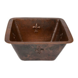 """Premier Copper Products - Premier Copper Products BS15FDB2 15"""" Square Copper Bar Sink - Fleur De Lis - Uncompromising quality, beauty, and functionality make up this Premier 15"""" Square Hammered Copper Bar Sink with Fleur De Lis Design with a 2"""" Drain Opening."""