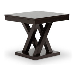 """Wholesale Interiors - Everdon Dark Brown Modern End Table - Give your home an element of unmatched polish: the Everdon Designer End Table is packed with contemporary style. The stately Everdon End Table is crafted in Malaysia with a sturdy engineered wood frame. To clean, wipe the wooden surfaces with a dry cloth. The Everdon Collection also includes a matching sofa table, coffee table, pub stool, and pub table set (each sold separately). 21.6""""W x 21.6""""D x 20""""H, base : 15.3""""W x 15.3""""D x 1.375""""H, table top thickness: 2.75""""."""