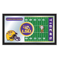 "Holland Bar Stool - Holland Bar Stool Louisiana State Football Mirror - Louisiana State Football Mirror belongs to College Collection by Holland Bar Stool The perfect way to show your school pride, our Football Mirror displays your school's symbols with a style that fits any setting.  With it's simple but elegant design, colors burst through the 1/8"" thick glass and are highlighted by the mirrored accents.  Framed with a black, 1 1/4 wrapped wood frame with saw tooth hangers, this 15""(H) x 26""(W) mirror is ideal for your office, garage, or any room of the house.  Whether purchasing as a gift for a recent grad, sports superfan, or for yourself, you can take satisfaction knowing you're buying a mirror that is proudly Made in the USA by Holland Bar Stool Company, Holland, MI.   Mirror (1)"