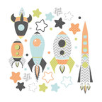 the lovely wall co - Spaced Out- Rockets - Wall Decal - space ship wall decals, Navy Combo - Spaced Out- Rockets - Wall Decal