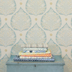 Lotus Wallpaper, Aqua - The classic lotus motif hand-blocked in tranquil blues and golds is a lovely choice for a bedroom retreat.