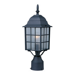 North Church-Outdoor Pole/Post Mount - This One Light Post Light is part of the North Church Collection and has a Black Finish and Clear Glass. It is Wet Rated, and Outdoor Capable.