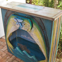 Mahi Mania - Hall table with one drawer. Made from reclaimed cypress. Hand painted