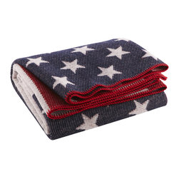 Fairbault Woolen Mill - American Flag Wool Throw - We're proud to produce all our goods under one roof right here in the heartland of The United States of America. The American Flag throw combines comfort and patriotism in one plush yet durable keepsake. The surprisingly deep, bold colors and vivid patterns are made possible by our proprietary construction technique (similar to that used in our Revival Stripe blanket). Wrap yourself in truly American comfort. 80% soft-loomed fine merino wool and 20% cotton. Permanently moth-proofed.