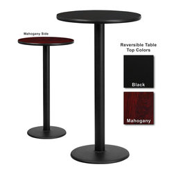 Flash Furniture - Flash Furniture 24 Inch Round Bar Table with Reversible Laminate Top - Complete your restaurant, break room or cafeteria with this reversible table top. The reversible laminate top features two different laminate finishes. This table top is designed for commercial use so you will be assured it will withstand the daily rigors in the hospitality industry. [XU-RD-24-MBT-GG]