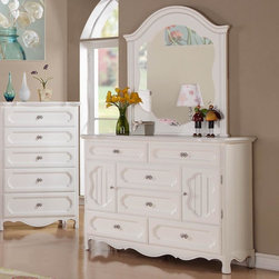Homelegance - Homelegance Hayley 6 Drawer Kids' Dresser w/ Mirror in White - Country styling lends itself beautifully to the Hayley Collection. Slat paneling is framed on the sleigh headboard & footboard and features an elegant medallion accent on each side. The white finish gives the collection a fresh look perfect for a child's or guest bedroom. Eoom Decor/Towel WarmersBed & Bath/Browse By BrandBed & Bath/Kids' BeddingBed & Bath/Teen BeddingBed & Bath/Toddler BeddingPatio & GardenPatio & Garden/Patio Furnit