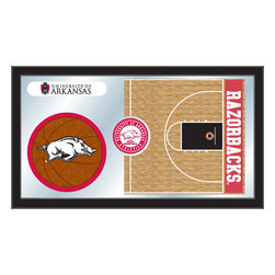 "Holland Bar Stool - Holland Bar Stool Arkansas Basketball Mirror - Arkansas Basketball Mirror belongs to College Collection by Holland Bar Stool The perfect way to show your school pride, our basketball Mirror displays your school's symbols with a style that fits any setting.  With it's simple but elegant design, colors burst through the 1/8"" thick glass and are highlighted by the mirrored accents.  Framed with a black, 1 1/4 wrapped wood frame with saw tooth hangers, this 15""(H) x 26""(W) mirror is ideal for your office, garage, or any room of the house.  Whether purchasing as a gift for a recent grad, sports superfan, or for yourself, you can take satisfaction knowing you're buying a mirror that is proudly Made in the USA by Holland Bar Stool Company, Holland, MI.   Mirror (1)"