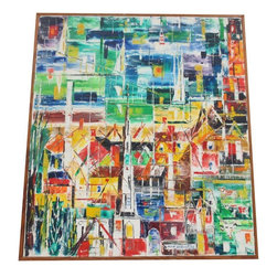 """Pre-owned Mid-Century Abstract Cubist Painting C. 1950 - We LOVE Mid-Century abstract paintings. This circa 1950s abstract oil painting has just the right touch of Cubism, bright colors and is full of texture. This will surely be the centerpiece of your collection, a truly impressive painting!     The work is done on canvas and presented in a simple wooden frame. The painting is signed on the lower right, """"Allen Ullman"""". It is in very good vintage condition."""