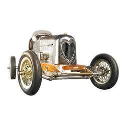 Authentic Models - Bantam Midget - The 1930s saw the rise of hand built model race cars, known as spindizzies or tether cars. Miniature racecars built by hobbyists zoomed around banked wooden tracks at speeds approaching 150 miles per hour. Resembling the full-size racers of their day, several spindizzies competed at once, tethered by cables to a central pole. Powered by model airplane engines, spindizzies raced against the clock. Incredibly detailed and aerodynamic, these miniature race cars were beyond toys; they were pieces of art representative of the best pioneering technology of the era. Constructed using original blueprints our Bantam Midget model resembles the original down to the smallest detail. One look and youll be ready to join the competition.  * Bantam Midget Racer resembles the original down to the smallest detail  * Made of hardwood, brass and aluminum  * Rubber tires on spoked wheels  * Polished aluminum surfaces  * Size is 19.00 inches long by 8.75 inches wide and 7.00 inches tall  * AM boxed
