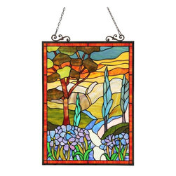 None - Tiffany Style Country Scene Design Rectangular Stained Glass Window Panel - This Tiffany style country scene design window panel will add color and beauty to any room. Handmade from over 260 hand cut pieces of art glass in warm tones,this remarkable panel is sure to elevate your home decor.