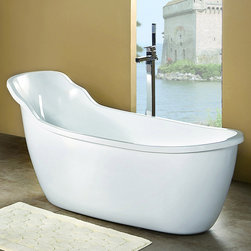 "69"" Delora Acrylic Freestanding Slipper Tub - This elegant freestanding slipper tub features a unique shape with an extended gentle slope backrest, providing you with a comfortable bathing experience."