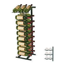 Vintage View 27-Bottle Display Wine Rack - Display and storage have never been easier than with the Vintage View 27-Bottle Display Wine Rack. Unlike some racks this one doesn't make it impossible to find what you're looking for - labels are kept clearly on display even when the rack is full. It's made of durable metal in your choice of finishes and holds up to 27 bottles of wine - two cases of wine in the base and three bottles in the top presentation rack. It also provides perfect airflow between bottles. This product requires assembly and includes detailed instructions and all necessary hardware. About Wine Master Cellars for Vintage ViewWine Master Cellars manufactures and sells wine storage and display systems that combine quality craftsmanship and an innovative aesthetically pleasing design. In 2001 company owner Doug McCain created the patented Vintage View label-forward wine racking display system and it has since become one of fastest growing metal modular systems in the United States. Wine Master Cellars products are used in homes wine stores hotels grocery stores bars and restaurants around the world. The company has an office and showroom in Denver Colorado and prides itself in helping its customers create the wine cellar of their dreams.