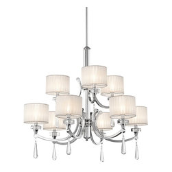 KICHLER - KICHLER Parker Point Transitional Chandelier X-HC33624 - Swooping lines of polished chrome suspend nine lights on this interesting chandelier. Each individual shade helps to provide the perfect amount of light for your personal needs. The Kichler Lighting Parker Point Transitional chandelier features elegant looking organza wrapped fabric shades. The crystal pendant accents add a sparkling look to the design.