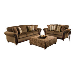 Chelsea Home Furniture - Chelsea Home Fairfax 2-Piece Living Room Set in Cornell Chestnut - Alpaca Cumin - Fairfax 2-Piece Living Room Set in Cornell Chestnut - Alpaca Cumin Pillows belongs to the Chelsea Home Furniture collection