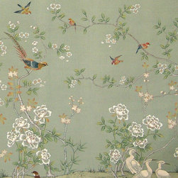 Kew WGC-150 Wallpaper - What could be more elegant than a room done in this green, hand-painted, chinoiserie wallpaper? Imagine this in a dining room or bedroom.