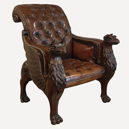 English Georgian America - Tatham Library Chair - An important carved mahogany library armchair of large proportions inspired by Tatham design from 'the grand tour'.