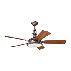 """Kichler - Kichler 300018OBB Hatteras Bay 56"""" Oil Brushed Bronze Ceiling Fan - blades Inclu - Oil Brushed Bronze finish Fresnel Lens- Gloss WHT Inside-Clear Glass Outside diffuser 4 40-watt max. bulb included UL ListedBackplate Dimensions: 6.63"""" Dia Blades Included: Yes Bulb Included: Yes Bulb Type: T3 Collection: Hatteras Bay Diffuser Description: Fresnel Lens- Gloss WHT Inside-Clear Glass Outside Finish: Oil Brushed Bronze Finish Group: Bronze Material: Steel, Plywood, Glass Number of Lights: 4 Style: Traditional Type: Ceiling Fans UL Listed: Yes Wattage: 40 Watt"""