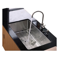 Kraus - 32 in. Single Bowl Kitchen Sink with Faucet and Soap Dispenser - Add an elegant touch to your kitchen with unique Kraus kitchen combo