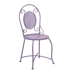 iMax - iMax Yates Purple Iron Bistro Chair X-14478 - Imagine indulging in a warm cup of coffee at the corner sidewalk caf�_ or a nice afternoon at the bakery for a sweet treat! This bistro chair adds color and personality to any location with its iron design.