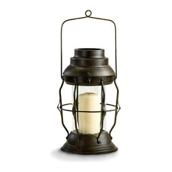 Willow Lantern - Weighty stepped outlines contrast with the delicate rods of metal that frame the Willow Lantern's central glass chamber. This striking designer candle lantern has a rustic feel that goes effortlessly from the country home to the uptown apartment, where its rich patina coordinates with the complex finishes of architectural fragments and salvaged treasures.