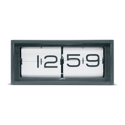 LEFF Amsterdam - Brick Wall/Desk Clock - Grey Stainless Steel AM/PM White - The ultimate heavy duty piece of the LEFF Amsterdam collection. Brick is a vintage flip clock, reinvented and redesigned, with a unique combination of materials and graphics. Inside the stainless steel case a precision machine provides you a different composition of numbers every minute. The case is welded and brushed by hand which brings this clock to a high level of craftsmanship. The clock can be displayed on a desk or hung on a wall. Requires AA battery; not included.