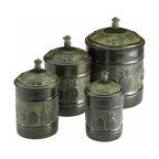 "Old Dutch International - 4 Pc. ""Piña"" Canister Set w/Fresh Seal Covers - Display your dry goods in style — these charming old-world canisters are practical and unique. The handsome dark green containers feature an embossed pineapple motif, cute pineapple knobs and a 'Fresh Seal' cover technology. Dry goods may be out of sight but freshness will be locked in."